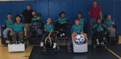 Members of the San Jose Rockets powersoccer team